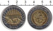 Изображение Монеты Уругвай 10 песо 2011 Биметалл UNC- пантера