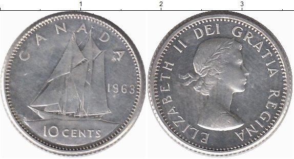 Картинка Монеты Канада 10 центов Серебро 1963