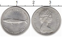 Изображение Мелочь Канада 10 центов 1967 Серебро UNC- Рыба