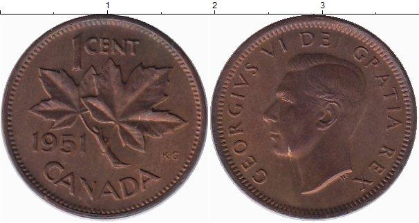 Картинка Монеты Канада 1 цент Бронза 1951