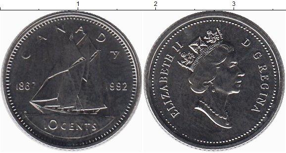 Картинка Монеты Канада 10 центов Медно-никель 1992