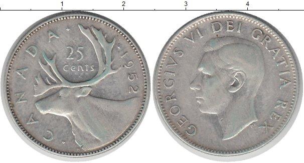 Картинка Монеты Канада 25 центов Серебро 1952