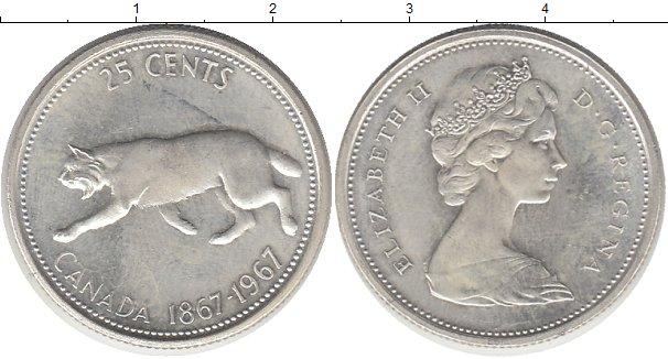 Картинка Монеты Канада 25 центов Серебро 1967