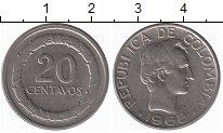 Изображение Монеты Колумбия 20 сентаво 1968 Медно-никель XF