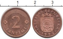 Изображение Монеты Латвия 2 сантима 1992 Бронза UNC-