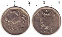 Изображение Монеты Мальта 5 центов 1995 Медно-никель UNC-