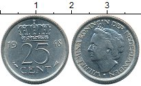 Изображение Монеты Нидерланды 25 центов 1948 Медно-никель XF