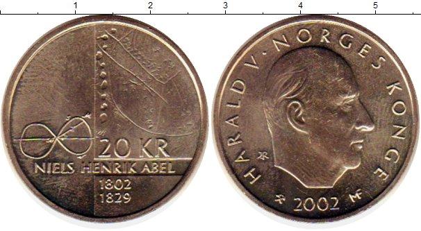 Картинка Монеты Норвегия 20 крон Латунь 2002