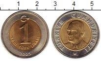 Изображение Монеты Турция 1 лира 2005 Биметалл UNC-