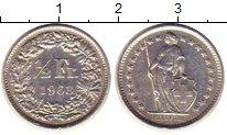Изображение Монеты Швейцария 1/2 франка 1963 Серебро XF