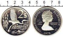 Изображение Монеты Каймановы острова 2 доллара 1978 Серебро Proof- Елизавета II. птица