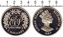 Изображение Монеты Каймановы острова 5 долларов 1987 Серебро Proof- Свадьба,Елизавета и