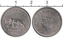 Изображение Монеты Индия 1/4 рупии 1947 Медно-никель UNC-
