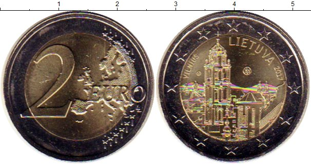 Картинка Мелочь Литва 2 евро Биметалл 2017