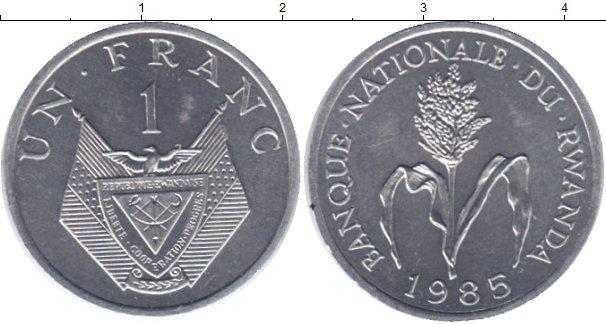 Картинка Монеты Руанда 1 франк Алюминий 1985