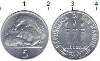 Изображение Монеты Сан-Марино 5 лир 1975 Алюминий UNC-