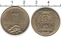 Изображение Монеты Сан-Марино 200 лир 1988 Латунь UNC Башня