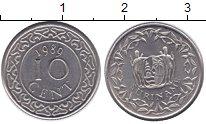 Изображение Монеты Суринам 10 центов 1989 Железо UNC Герб