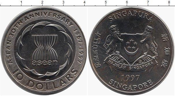 Картинка Монеты Сингапур 10 долларов Медно-никель 1997