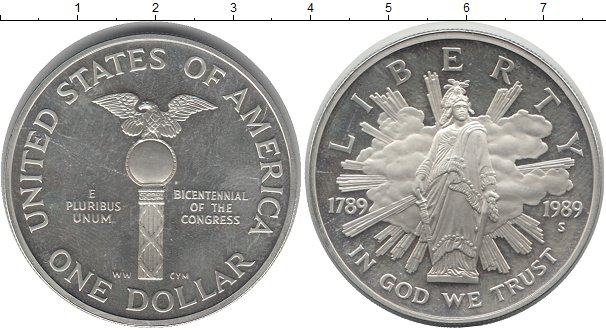 Заказать в один клик серебряную монету 1 доллар америки 1989.