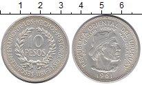Изображение Монеты Уругвай 10 песо 1961 Серебро UNC- Эль Гаучо.