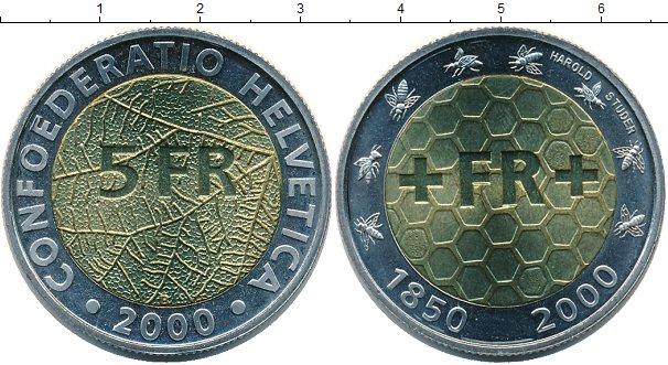 Картинка Монеты Швейцария 5 франков Биметалл 2000