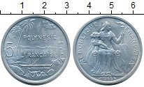 Изображение Монеты Полинезия 5 франков 1965 Алюминий XF