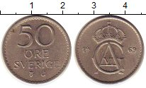 Изображение Монеты Швеция 50 эре 1969 Медно-никель VF