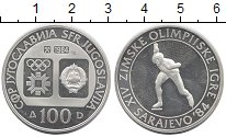 Изображение Монеты Югославия 100 динар 1984 Серебро Proof- Олимпиада 84.  Коньк