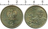 Изображение Мелочь Польша 2 злотых 2002 Латунь XF+ Бронислав Каспар Мал