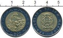 Изображение Монеты Сан-Марино 500 лир 1988 Биметалл UNC- Крепость на вершине