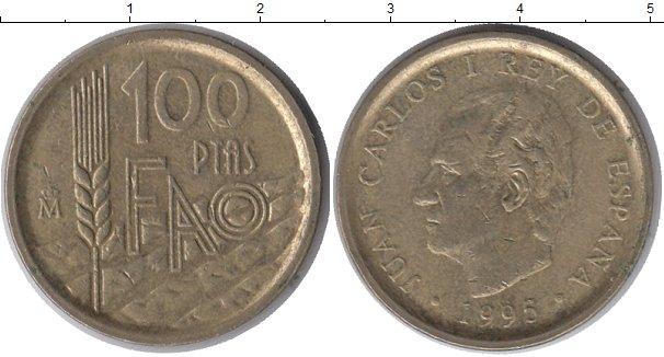 Картинка Монеты Испания 100 песет Латунь 1995