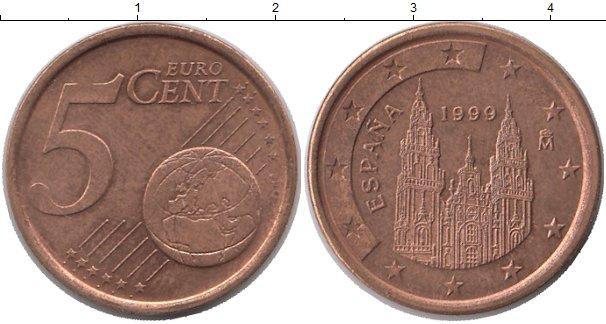 Картинка Монеты Испания 5 евроцентов Бронза 1999