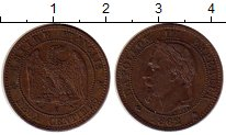 Изображение Монеты Франция 2 сантима 1862 Бронза XF