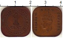 Изображение Монеты Малайя 1 цент 1945 Бронза XF
