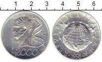 Изображение Монеты Италия 2000 лир 1998 Серебро UNC-