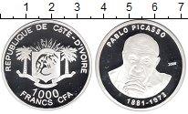 Изображение Монеты Кот-д`Ивуар 1000 франков 2006 Серебро Proof Пабло Пикассо