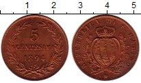 Изображение Монеты Сан-Марино 5 сентесим 1894 Бронза UNC-