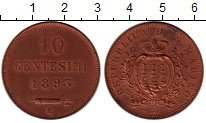 Изображение Монеты Сан-Марино 10 сентесим 1895 Медь UNC-
