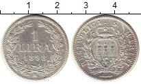 Изображение Монеты Сан-Марино 1 лира 1898 Серебро XF+ номинал- герб