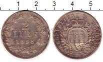 Изображение Монеты Сан-Марино 2 лиры 1898 Серебро UNC- номинал- герб