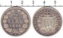 Изображение Монеты Сан-Марино 2 лиры 1898 Серебро XF- номинал- герб