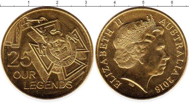 Картинка Монеты Австралия 25 центов Латунь 2016