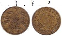 Изображение Дешевые монеты Веймарская республика 5 пфеннигов 1924 Медь XF- J