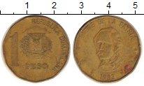 Изображение Дешевые монеты Доминиканская республика 1 песо 1992 Латунь VF