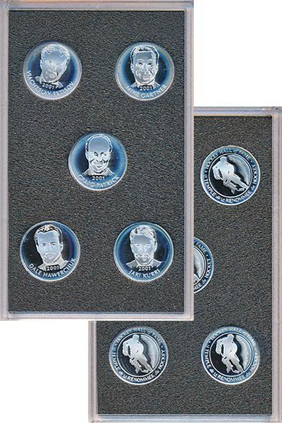 Изображение Подарочные монеты Канада Зал хоккейной славы 2001 Серебро Proof- В серию Зала хоккейн