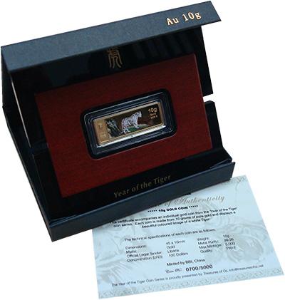 Изображение Подарочные монеты Либерия Год тигра 2010 Золото Proof- Монета номиналом 100
