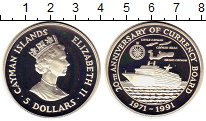 Изображение Монеты Каймановы острова 5 долларов 1991 Серебро Proof 20 лет Валютному сов