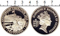 Изображение Монеты Гернси 2 фунта 1995 Серебро Proof 50 лет Освобождения
