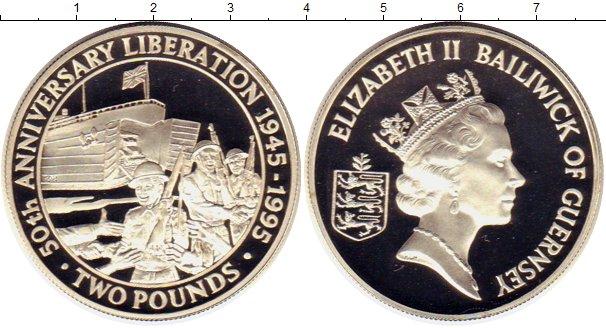 Картинка Монеты Гернси 2 фунта Серебро 1995